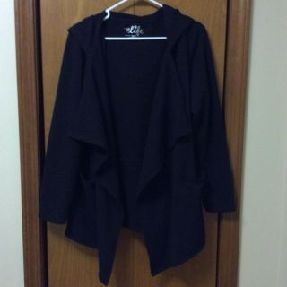Work Out Hooded Cardigan. Black. Women s Sz L. Made for Life brand from JCPenney s. EUC.