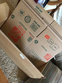 5 Small 16 x 12 x 12 Home Depot Moving Boxes. Take all for $2.50