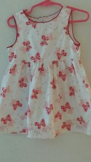 2T white dress with pink butterflies