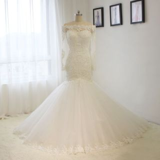 Sally's Mermaid Long Sleeve Lace Wedding Gown