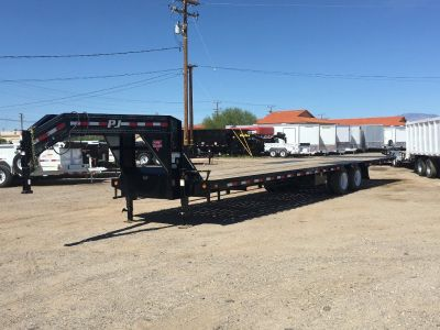 Low Pro Gooseneck Trailer with Hydraulic Dovetail,  36ft Flatdeck Trailer, PJ Flatbed LY362