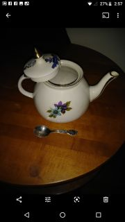 Gibson's Staffordshire England porcelain teacup with real silver spoon vintage collectible