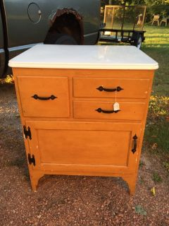 Cabinet/Coffee bar with enamelware top