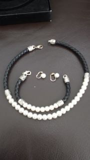 PRICE REDUCED! Pearl and Braided black leather choker, bracelet, and earrings