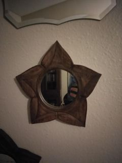 3 wooden mirrors