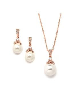 Mariell's Rose Gold necklace and earrings