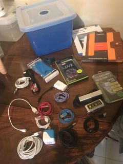 23 IPHONE, IPAD, ANDROID CHARGERS, CASES, BATTERY PACKS, ETC WITH STORAGE CONTAINER