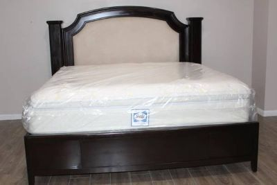 King Size Solid wood bed frame with Mattress included!!