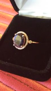 Beautiful 1 Kt. Solitare Purple Amethyst & 925 Stirling Silver Ring!!!...