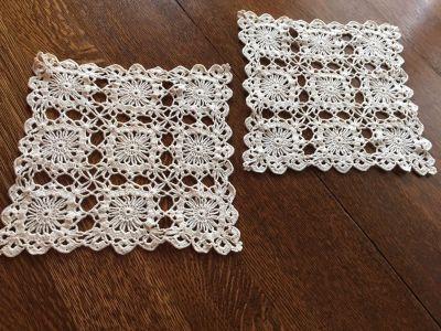 Pair of Vintage Crocheted 10 x 10 Flower Garden Pattern Doilies