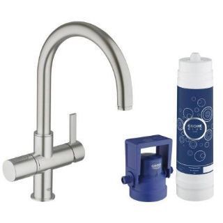 Faucet GROHE Blue Super Steel 1-Handle Deck Mount High-Arc Kitchen Faucet