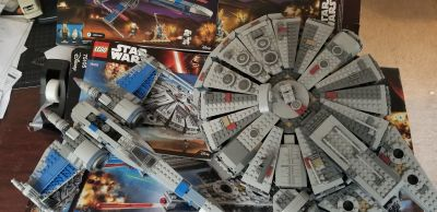 2 Retired Lego Sets, Millennium Falcon 75105, and X-Wing 75149