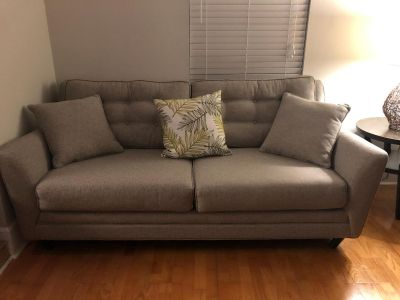 Large grey canvas couch