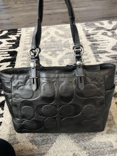 Authentic Metallic Grey Embossed Leather Coach Purse