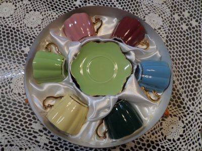 """ Mothers Day"" MIB Demitasse Cups Saucers espresso Various Colors Gold Trim"