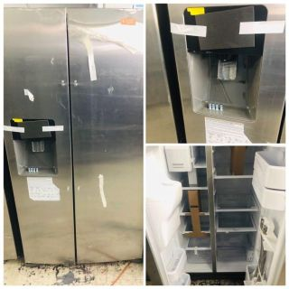 Samsung stainless steel side by side refrigerator outside water and ice dispenser