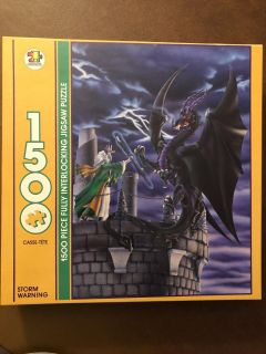 Puzzle- 1500 pieces- Dragon with Wizard Scene