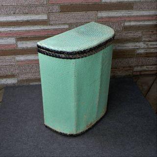 Vintage Mid Century Woven Wicker Clothes Hamper