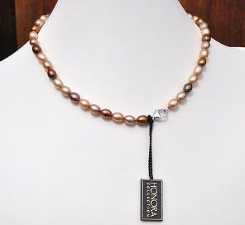 HONORA Pearls Sterling Multi Shades Brown,Cream Strand Necklace