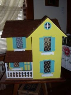 LARGE LOVELY VINTAGE DOLLHOUSE-FRESHLY PAINTED, NEW ROOF