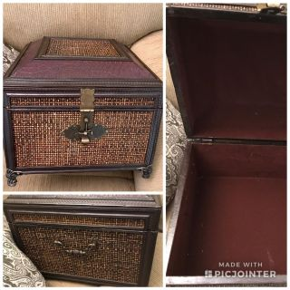 Beautiful Large Trunk Style Box . Handles on sides, leather trim on top. 13 square