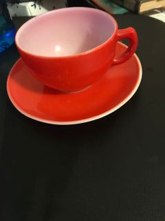 Vintage Red Milk Glass Cup and Saucer