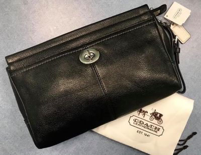 New COACH Black Leather Clutch, Purse ~ Large Size