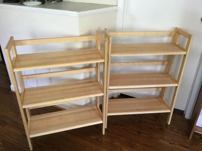 Pair of Three-Tier Folding Stackable Shelving Units