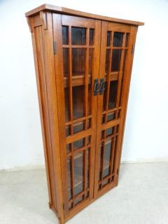 Prairie Style Glass Door Small Bookcase or DVD