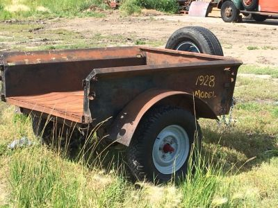 1928 Ford model A p/u box, made into a trailer, no tailgate, has some rust thru