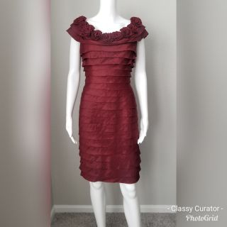 London Times tiered ruffled rose dress