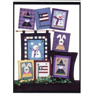 BUNNY FLAG WITCH SNOWMAN Patterns: APPLIQUE or CROSS STITCH Pillow or Wall Decor