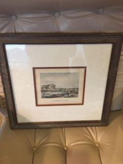 Antique French Lithograph Framed Print