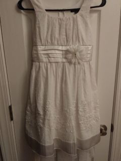 Dress for young girl.  Size:12.  White.Used.  Worn 1 time