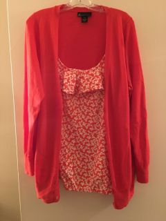Coral floral sweater set