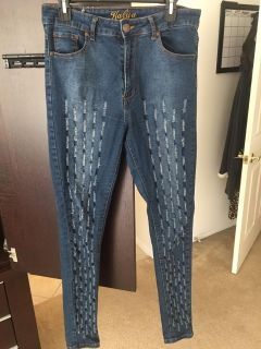 High-Waisted Distressed Skinny Stretchy Jeans Sz 13