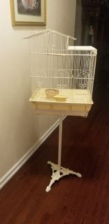 Metal Bird Cage With Cast Iron French Stand