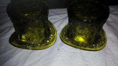 2 green glass top hat glass