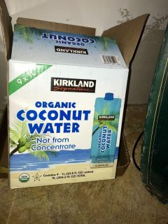 6 one liter bottles of organic coconut water from Cosco