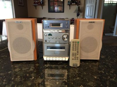 Sony CD, Tape Cassette Player And am/fm radio.
