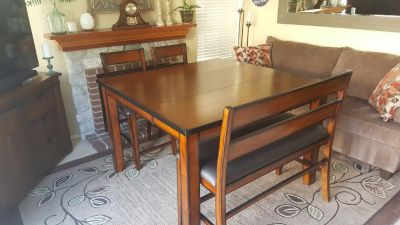LIKE NEW TABLE AND CHAIRS/BENCH