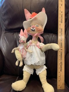 Vintage 1970 s Annalee 18 Tall Bunny & Baby. Original Owners