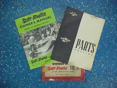 Sell Scott-Atwater Owner's Kit w/ Owner's Manual & Parts Catalog *VINTAGE* Neat Find! motorcycle in Coldwater, Michigan, United States, for US $59.00