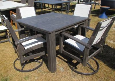 "SALE Merchandise Mart Floor Sample - ""Wood"" Outdoor Dining Table and 4 Swivel Chairs -"