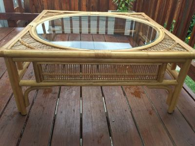Vintage Rattan/Bamboo Coffee Table