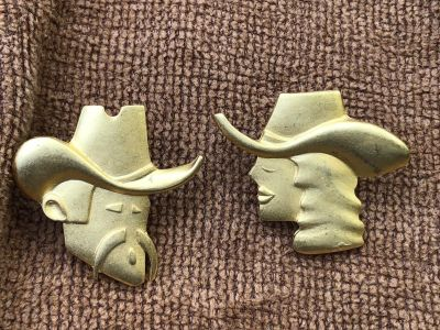 Vintage Signed A.J.C. Gold Tone Cowgirl & Cowboy Post Earrings