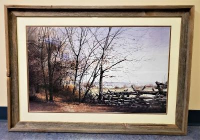 Large Country Farm Landscape Matted Art Rustic Framed Print