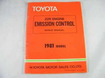 Sell 1981 TOYOTA OEM ORIGINAL 22R ENGINE EMISSION CONTROL REPAIR MANUAL motorcycle in Bellingham, Washington, United States, for US $36.00
