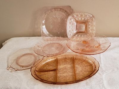 rose depression glass plates & platters