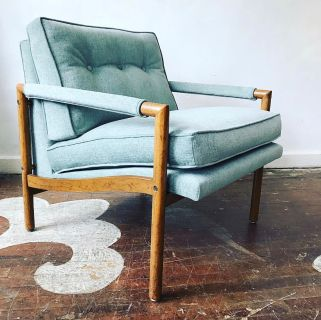 Reupholstered chenille mid-century lounge chair